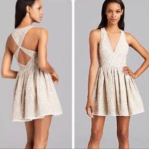 Black Halo Bree Latte Lace Fit & Flare Mini Dress